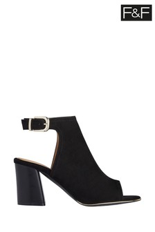 F&F Black Peep Toe Heeled Shoes