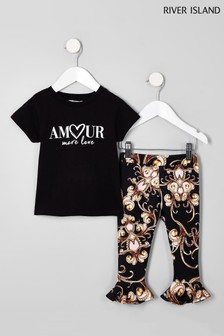 River Island Black Amour Tee And Print Legging Set
