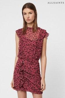 AllSaints Pink Leopard Print Hali Dress
