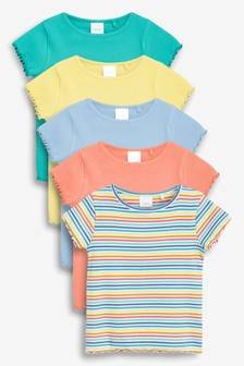 Bright Rib Short Sleeve T-Shirts Five Pack (3mths-7yrs)