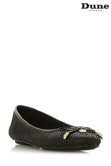 Dune London Black Bow Detail Ballerina