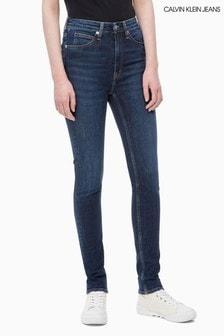 סקיני ג'ינס בגזרה גבוהה של Calvin Klein Jeans, בצבע כחול