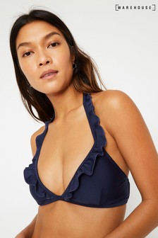 Warehouse Plain Frill Bikini Halter Top