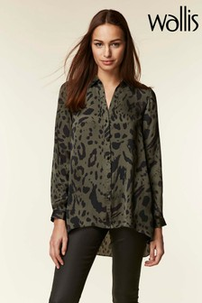 Wallis Khaki Animal Hi-Low Shirt