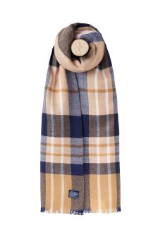 Joules Camel Check Soft Handle Oblong Scarf