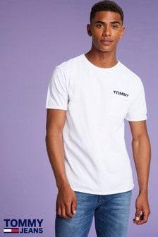 Tommy Jeans Mens White Melange Pocket T-Shirt