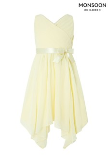 Monsoon Lemon Cordelia Cross Over Bodice Dress