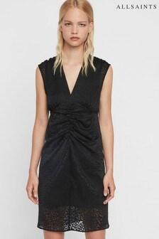 AllSaints Black Leopard Aldine Midi Dress