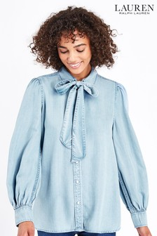 Lauren Ralph Lauren® Pale Blue Chambray Blouse