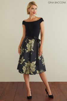 Gina Bacconi Black Elza Jersey And Jacquard Dress