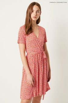French Connection Red Elao Meadow Jersey V-Neck Wrap Dress
