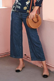 Belted High Waist Wide Leg Ankle Jeans