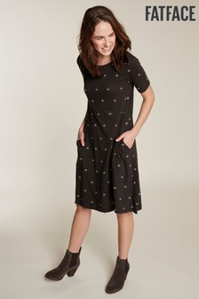 FatFace Black Simone Tulip Embroidered Dress