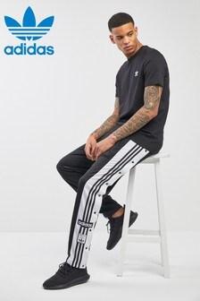 adidas Originals黑色Snap長褲慢跑運動褲