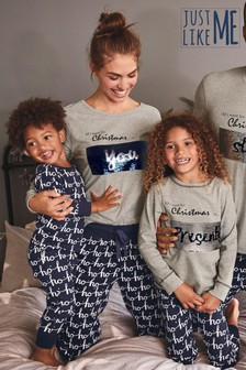 Kids Matching Family Sequin Slogan Pyjamas (0mths-8yrs)