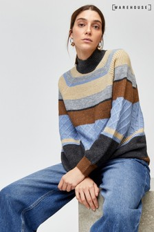 Warehouse Grey Cosy Stripe Funnel Jumper