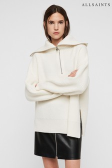 All Saints White Ami Roll Neck Jumper