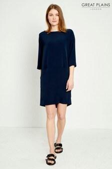 Great Plains Blue Louis Crepe Slash Neck Dress