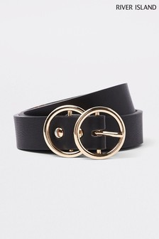 River Island Black Mini Horse Ring Belt
