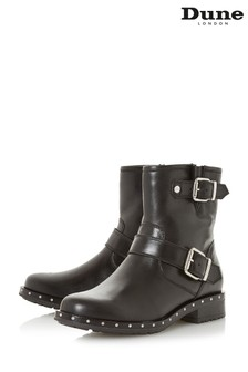 Dune London Black Riker Biker Boot