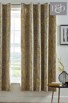 Maduri Damask Lined Eyelet Curtains by D&D