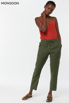 Monsoon Ladies Green Fame Linen Jogger