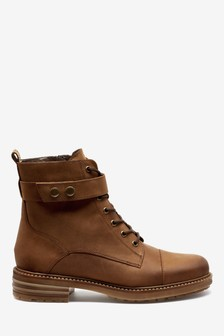 Signature Comfort Distressed Leather Lace-Up Boots