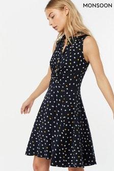 Monsoon Ladies Blue Dainton Ditsy Print Knee Length Dress
