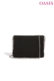 Oasis Black Diamanté Chain Bag