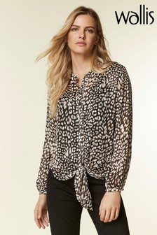 Wallis Animal Metallic Snake Tie Hem Shirt