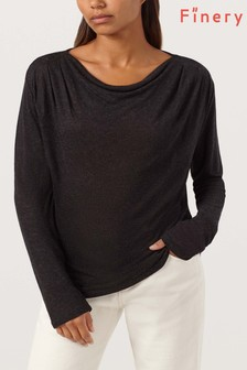 Finery London Grey Farnham Charcoal Neck Detail Top