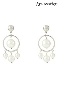 Accessorize Multi Pearl Drop Hoop Earrings
