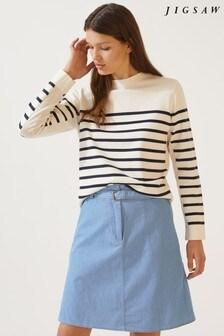 Jigsaw Blue Denim Belted Mini Skirt