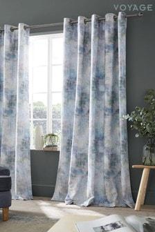 Voyage Blue Monet Lined Eyelet Curtains