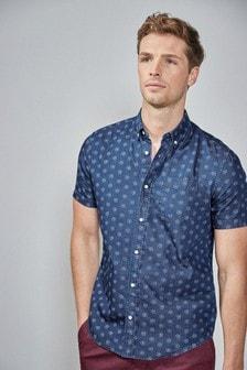 Short Sleeve Denim Print Shirt
