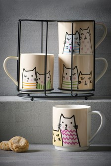 Set of 4 Cat Stacking Mugs
