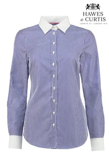 Hawes & Curtis Blue Stripe White Collar Cuff Shirt