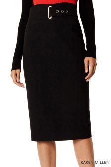 Karen Millen Black Interlaced Corset Skirt