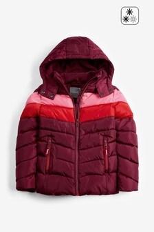 Непромокаемая короткая дутая куртка с контрастными вставками (3-16 лет)