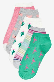 Assorted Print Trainer Socks Five Pack