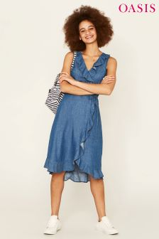 Oasis Blue Latino Wrap Dress