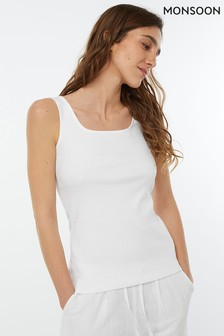 Monsoon Ladies White Bridey Square Neck Sleeveless Top