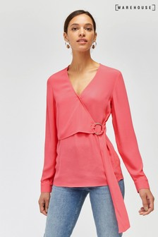 Warehouse Pink O-Ring Wrap Top