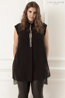Live Unlimited Black Long Line Sequin Tunic Blouse