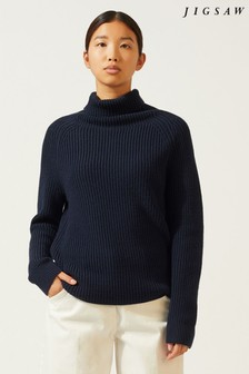 Jigsaw Roll Neck Slouchy Rib Jumper