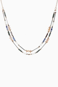 Multicolour Two Row Beaded Necklace