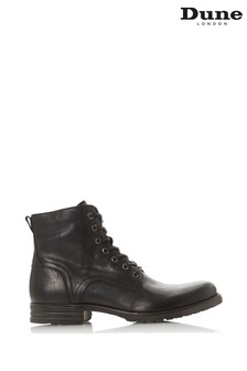 Dune London Cardif Black Leather Cleated Sole Boots