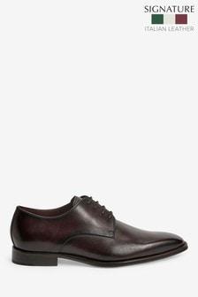 Signature Italian Leather Square Toe Derby Shoes