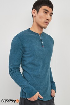 Superdry Blue Long Sleeve Grandad Tee