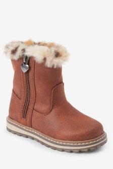 Faux Fur Trim Boots (Younger)